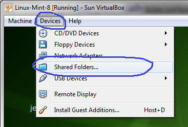 Compartilhando pastas no Virtual Box